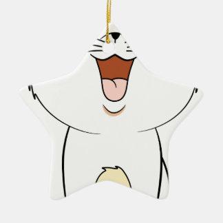 Kawaii white kitten ceramic star decoration