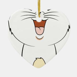 Kawaii white kitten christmas ornament