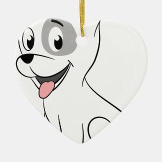 Kawaii white puppy ceramic heart decoration