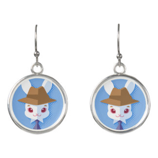 Kawaii White Rabbit Dapper Easter Bunny Earrings