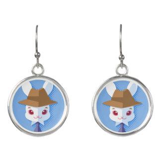 Kawaii White Rabbit Dapper Easter Bunny Earrings