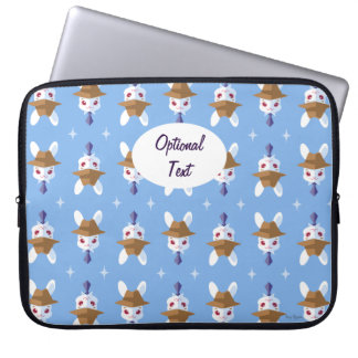 Kawaii White Rabbit Dapper Easter Bunny Pattern Laptop Sleeve