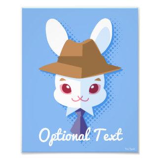 Kawaii White Rabbit Dapper Easter Bunny Photo Print