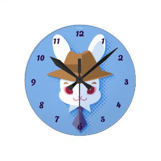 Kawaii White Rabbit Dapper Easter Bunny Round Clock