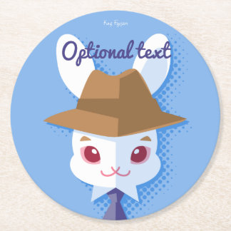 Kawaii White Rabbit Dapper Easter Bunny Round Paper Coaster