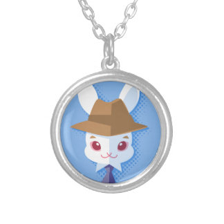 Kawaii White Rabbit Dapper Easter Bunny Silver Plated Necklace