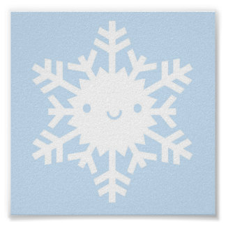 Kawaii Winter Snowflake Poster