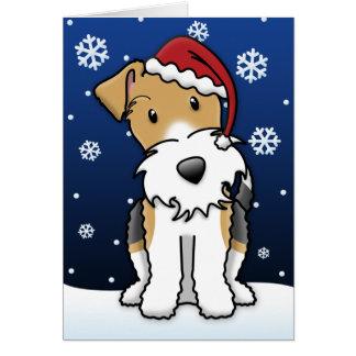 Kawaii Wire Fox Terrier Christmas Card