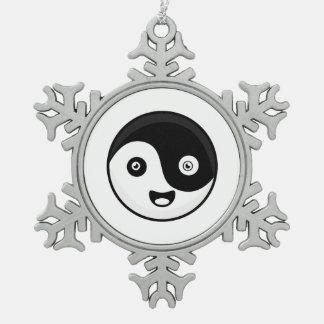 Kawaii Yin Yang Pewter Snowflake Decoration