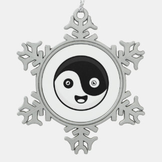 Kawaii Yin Yang Snowflake Pewter Christmas Ornament