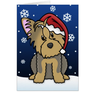 Kawaii Yorkshire Terrier Christmas Card