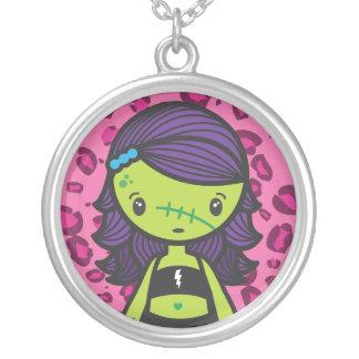 kawaii zombie round pendant necklace
