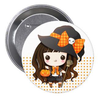 Kawaiii Halloween witch Pinback Buttons