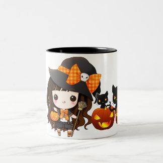 Kawaiii Halloween witch Two-Tone Coffee Mug