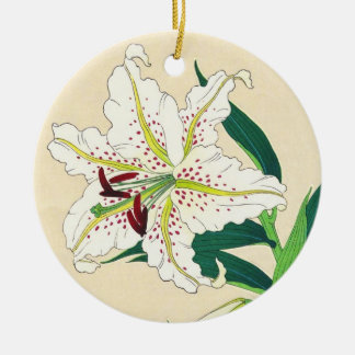 Kawarazaki Shodo Floral Calendar of Japan Lily art Double-Sided Ceramic Round Christmas Ornament