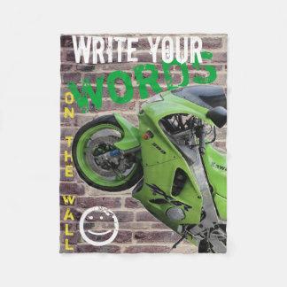 Kawasaki Green Motorcycle Graffiti Wall Blanket