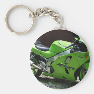 Kawasaki Green Ninja ZX-6R Motocycle, Street Bike Basic Round Button Key Ring