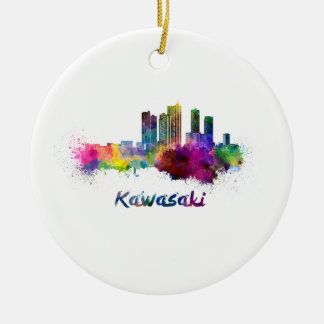 Kawasaki skyline in watercolor christmas ornament