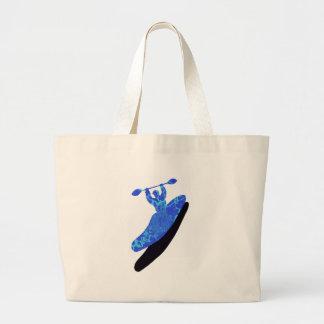 Kayak azul australis tote bags