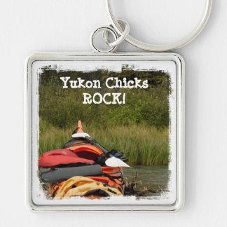 Kayak Balance; Yukon Chicks ROCK Silver-Colored Square Key Ring