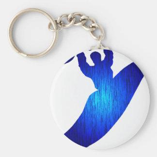 Kayak Blue Holed Basic Round Button Key Ring