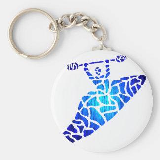 Kayak Blue Licks Basic Round Button Key Ring