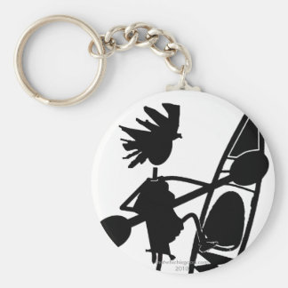 Kayak Canoe Joyful Silhouette Basic Round Button Key Ring