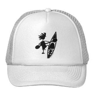 Kayak Canoe Joyful Silhouette Mesh Hat