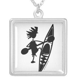 Kayak Canoe Joyful Silhouette Square Pendant Necklace