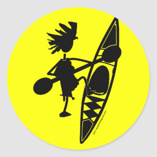 Kayak Canoe Joyful Silhouette Round Sticker