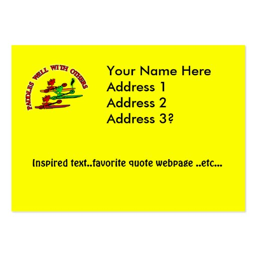 Kayak Canoe - Paddles Well With Others Business Cards