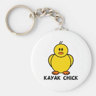Kayak Chick Basic Round Button Key Ring