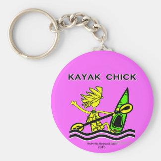 Kayak Chick Designs & Things Basic Round Button Key Ring