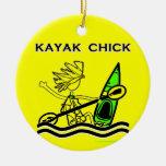 Kayak Chick Designs & Things Round Ceramic Decoration