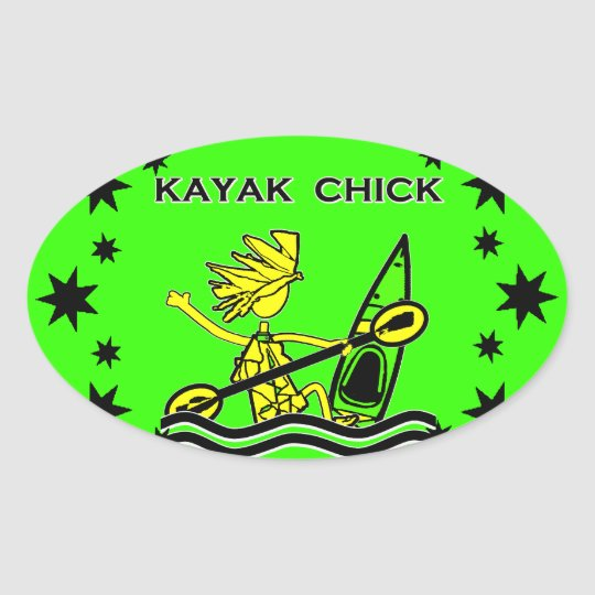 Kayak Chick Designs & Things Oval Sticker