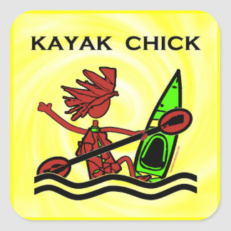 Kayak Chick Designs & Things Square Sticker