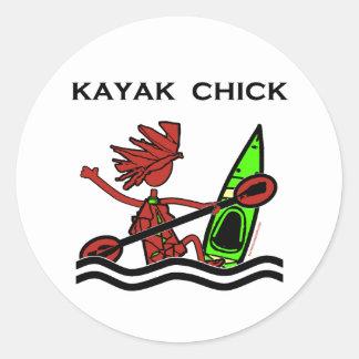 Kayak Chick Designs & Things Classic Round Sticker