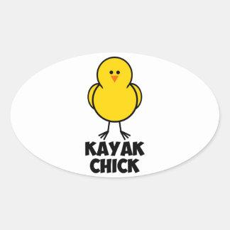 Kayak Chick Oval Sticker