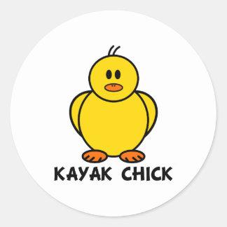 Kayak Chick Round Sticker