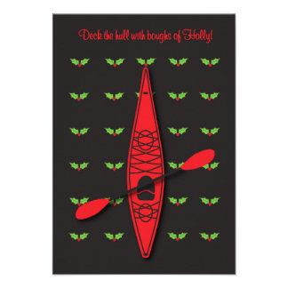 Kayak Christmas card Deck the Hull invitation