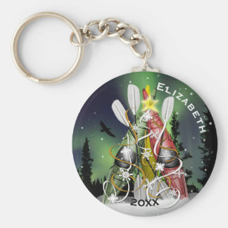 Kayak Christmas Tree Aurora Borealis Basic Round Button Key Ring