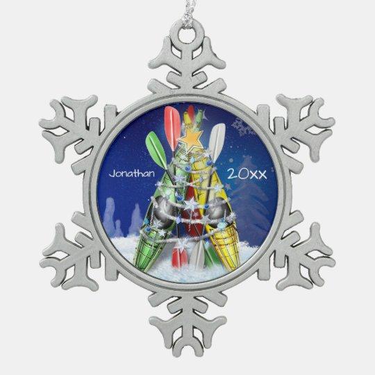 Kayak Christmas Tree custom name and year Snowflake