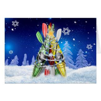 Kayak Christmas Tree Greeting Card