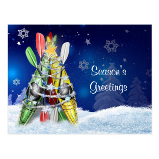 Kayak Christmas Tree Postcard