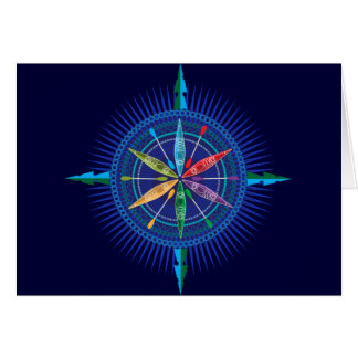 Kayak compass rose notecard