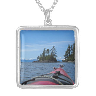 Kayak facing the Alaskan Mountain Range Necklace