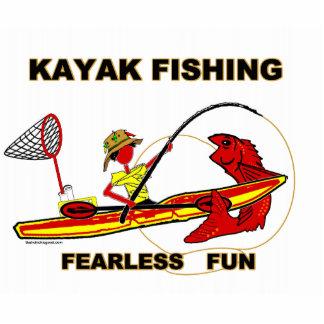 Kayak Fishing Black & White Whimsy Standing Photo Sculpture