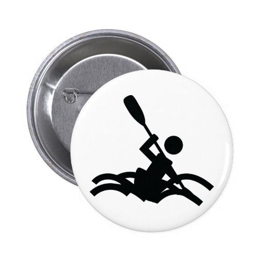 kayak icon 6 cm round badge