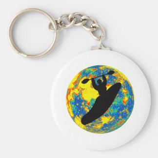 Kayak moon time basic round button key ring