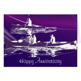 Kayak Multi-purpose Greeting Card in Purple Tones